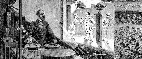 Charles-Émile-Reynaud-théâtre-optique-1892-World-first-animated-cartoon-rear-projection-screen-moving-pictures-audience-old-illustration