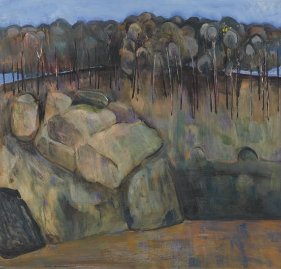 Fred Williams, 'The Nattai River', 1958, oil on composition board,  88.5 x 92.1 cm