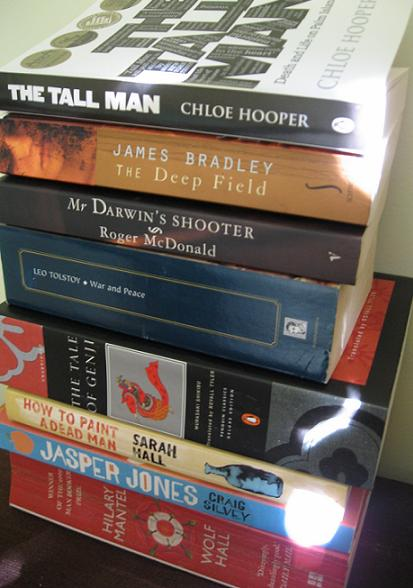 Bedside pile of books