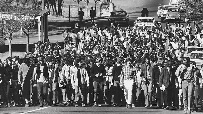 Demonstration in Brisbane against South African apartheid, 1971