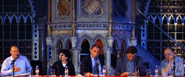 The panel at the public launch of the Euston Manifesto . From left to right: Alan Johnson, Eve Garrard, Nick Cohen, Shalom Lappin and Norman Geras.
