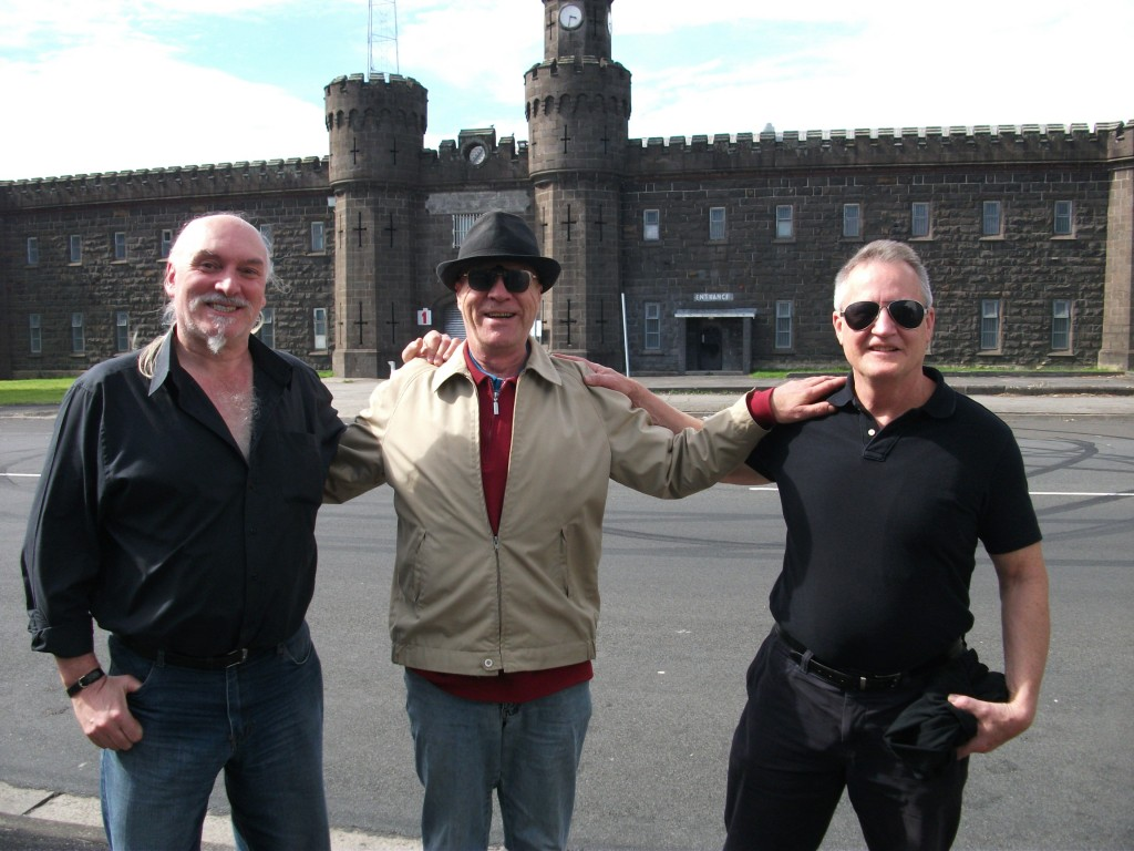 Barry, Brian and Fergus outside Pentridge in 2012 – a reunion!