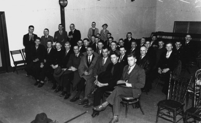 Members of the League of Social Justice who raided Parliament House appear.jpg in the Brisbane Police Court 1939