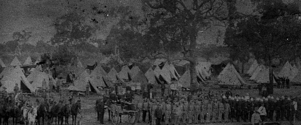 Mounted police and soldiers camp during the Shearers Strike at Barcaldine Queensland 1891