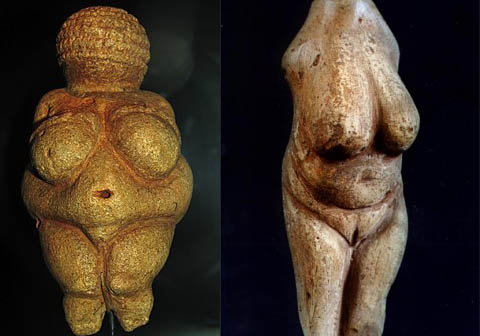 L: The Venus of Willendorf, c. 28,000 – 25,000 BC Limestone and red ochre. Discovered in Austria. Photo: Matthias Kabel. R: The Venus of Moravany, c. 22,800 BC Mammoth tusk. Discovered in Slovakia. Photo: Martn Hlauka.