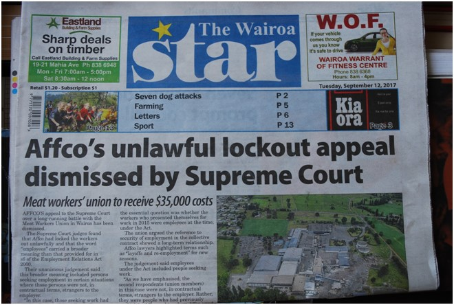 Cover page of the Wairoa Star following the Supreme Court decision