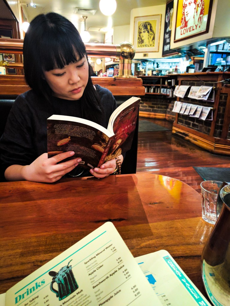 Julie Koh reading her Style companion's book