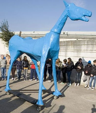 'Marco Cavallo', a 4-metre tall papier-mâché horse named after an actual horse