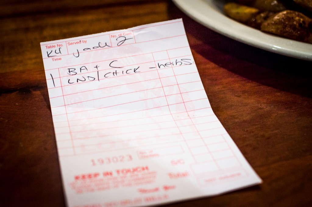 Handwritten order for lunch with Julie Koh