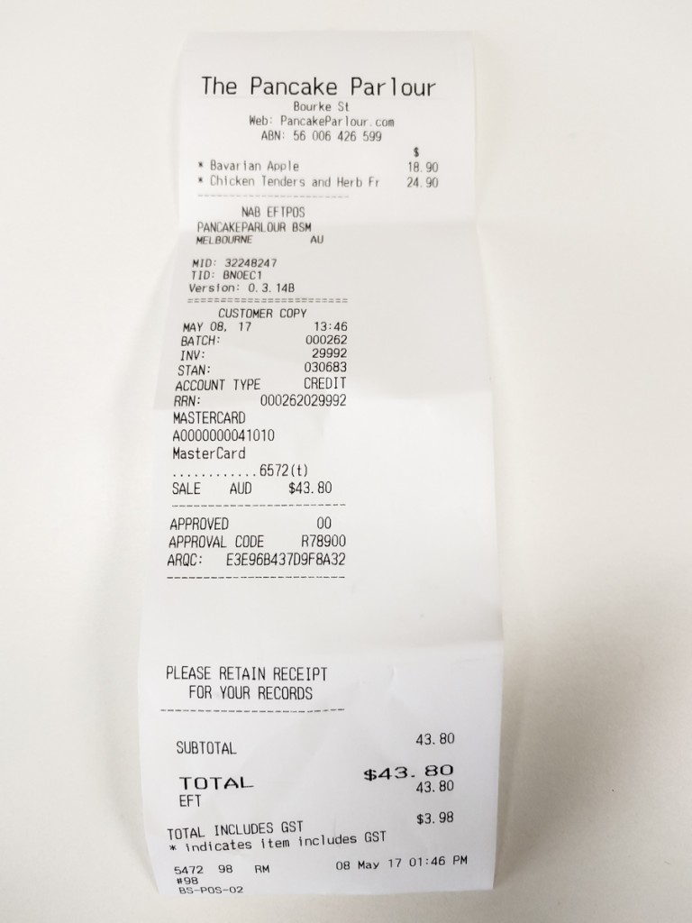 Receipt for lunch with Julie Koh at Bourke Street Mall's Pancake Parlour